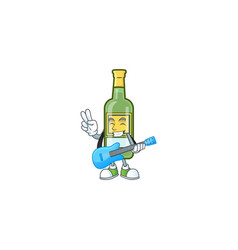 Character a with guitar in whiskey cartoon vector