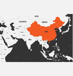 China orange marked in political map of southern vector