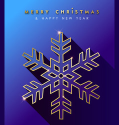 christmas and new year gold snowflake card vector image
