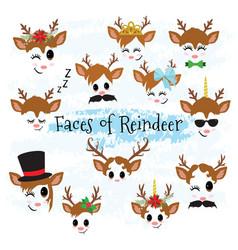 christmas decor reindeer faces clipart vector image