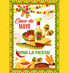 Cinco de mayo mexican fiesta greeting card vector