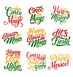 cinco de mayo mexican holiday fiesta icons vector image