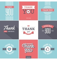 Colorful thank you cards vector