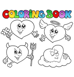 Coloring book hearts collection 2 vector