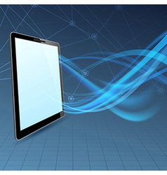 Communication run through tablet device vector