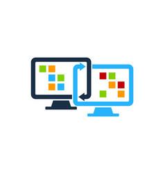 Connect computer logo icon design vector