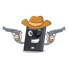 Cowboy black passport in a cartoon bag vector