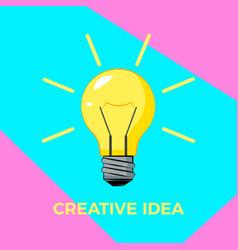 creative idea cartoon bulb with rays business vector image