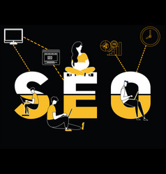 Creative word concept seo and people doing things vector