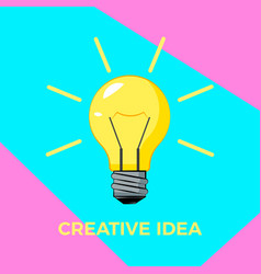 cretive idea cartoon bulb with rays bisiness vector image