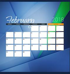 February 2018 calendar planner design template vector