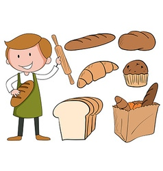 Flashcard of baker with bread vector image