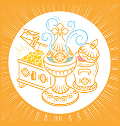 frankincense myrrh and gold inear style vector image