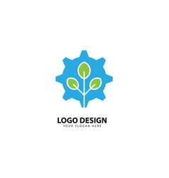 Gear tech and leaf logo design vector
