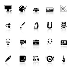General learning icons with reflect on white vector