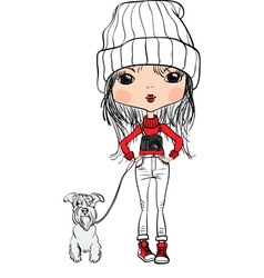 Girl with a dog and a camera vector