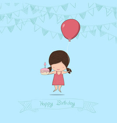 Girl with birthday cupcake background drawing by vector