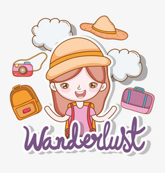 girl with clouds and backpack with camera to vector image