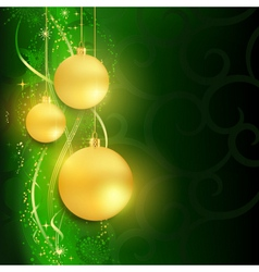 Golden baubles on dark green background vector