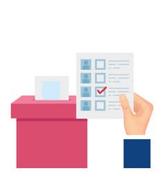 Hand with ballot box carton isolated icon vector