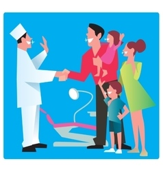 Happy family thanks dentist vector image
