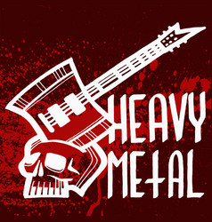 heavy rock music badge vintage label with vector image
