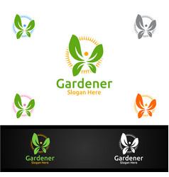 herb gardener logo with green garden environment vector image
