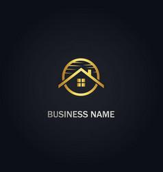 Home realty roof company logo vector