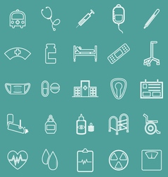 Hospital line icons on green background vector