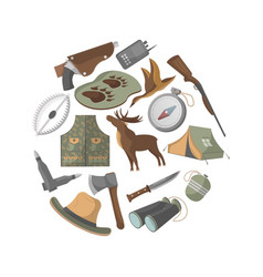 hunting banner with hunter ammunition icons vector image