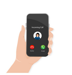 Incoming call in flat style perspective vector