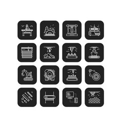 Industries and manufacturing icons set vector