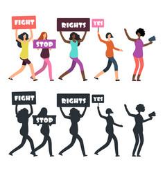 International women protesters walking vector