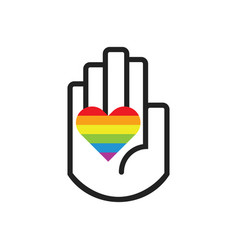 isolated black line hand symbol holding rainbow vector image