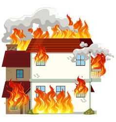 isolated modern house on fire vector image