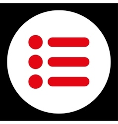 Items flat red and white colors round button vector image