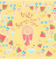 joyful summer seamless pattern vector image