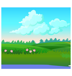 Landscape with coniferous forest on horizon vector