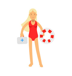 Lifeguard girl character in a red swimsuit holding vector