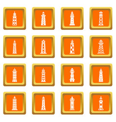 Lighthouse icons set orange square vector