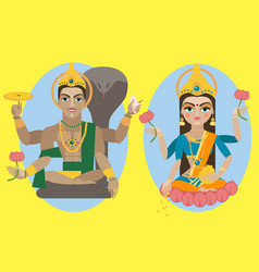 Lord vishnu and mata lakshmi vector
