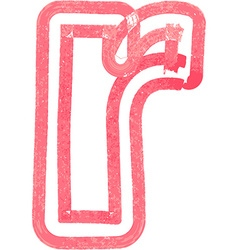 Lowercase letter r drawing with Red Marker vector