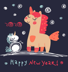 magic unicorn in winter for your design vector image