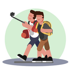making selfie with friend vector image