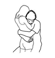 Man hugs his transparent lover vector