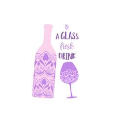 Mandala art design glass wine and bottle vector