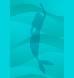 Mermaid silhouette isolated on sea waves vector