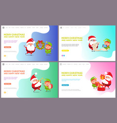 merry christmas greeting card santa claus and elf vector image