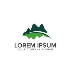Mountain leaf logo leaf garden floral landscape vector