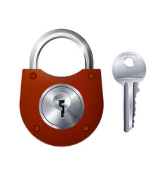 new red padlock and metallic key vector image